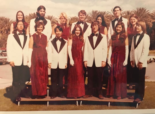 College of the Desert Vocal Ensemble, 1972-73. In the front row,  Teresa Castro Oistad is second from right and Ken Castro-Oistad third from right.