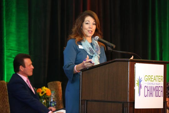 Mayor Linda Evans speaks during the La Quinta State of the City and Business Awards luncheon at Embassy Suite in La Quinta, Calif., on Wednesday, October 2, 2019.