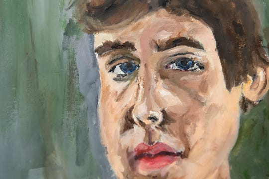 A self-portrait oil painting by Hanover High School senior Owen Smith, 17.