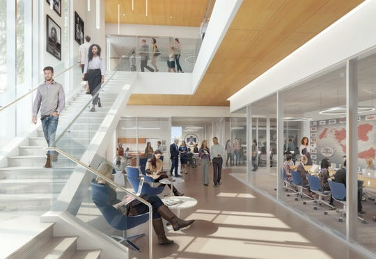 Renderings show the inside of the new building that will house the Thunderbird School of Global Management, part of Arizona State University, in downtown Phoenix.