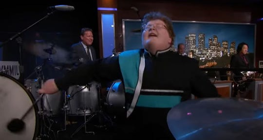 """in a video screenshot, drummer Dallen Johnston of Highland High School in Gilbert is seen performing with house band Cleto and the Cletones on """"Jimmy Kimmel Live!"""" in Los Angeles."""