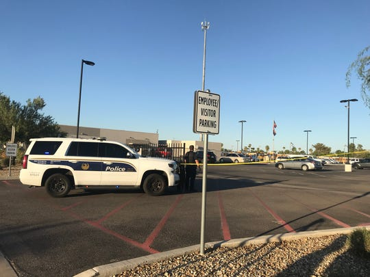 Phoenix police investigate the scene after the death of a child who was left inside a vehicle outside the Washington Elementary School District bus facility in Phoenix on Oct. 1, 2019.