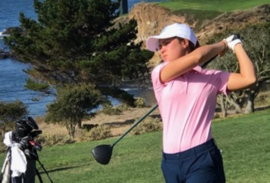 Sept. 29, 2019; Ashley Menne drives on the fairway at PURE Insurance Championship at Pebble Beach Impacting the First Tee golf.