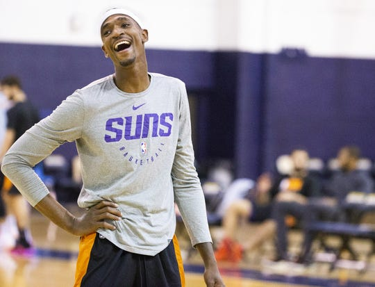 Forward Tariq Owens laughs during Phoenix Suns practice at the Rolle Activity Center at Northern Arizona University in Flagstaff, Wednesday, October 2, 2019.