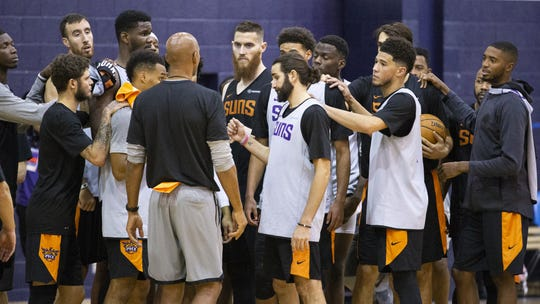 Head coach Monty Williams gathers the team during the Phoenix Suns practice at the Rolle Activity Center at Northern Arizona University in Flagstaff, Wednesday, October 2, 2019.