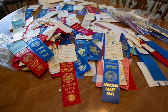 Mary Jane McHenry's awards from the Arizona State Fair, on September 30, 2019. She has competed in the fair's cooking contest 45 years in a row.