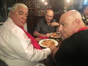"""In """"El Coyote,"""" Don Rossi (John Capodice, left) is a mob boss while Stone Spencer (Michael Saquella, right) is a former mobster in the witness-protection program. Giovanni  (Robert Constanza) enjoys his spaghetti."""