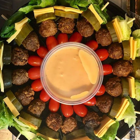 Low-carb burger bites, prepared by Neiman's Catering. Steve and Nancy Neiman, who own Neiman's Catering, are planning to open Bistro 428 in Marine City.
