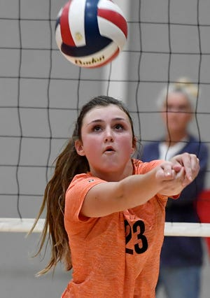 Abbey Stiffler bumps the ball back to the front line for Central as they host Dallastown, Tuesday, October 1, 2019John A. Pavoncello photo