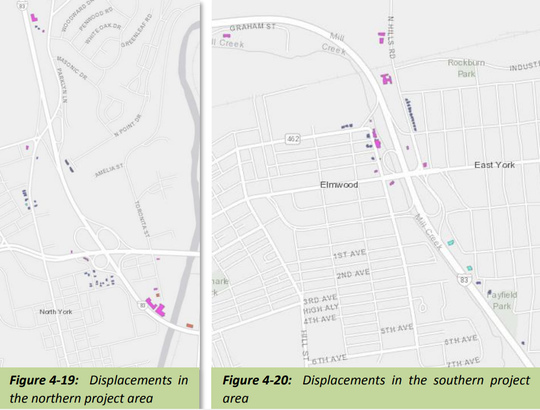 Properties expected to be affected by eminent domain due to the I-83 widening project.