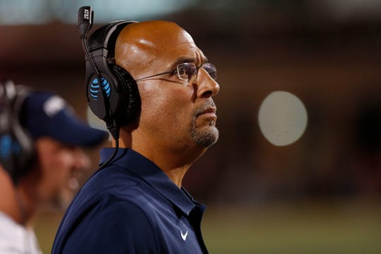 Sep 27, 2019; College Park, MD, USA; Penn State Nittany Lions head coach James Franklin looks on from the sidelines against the Maryland Terrapins in the first quarter at Capital One Field at Maryland Stadium. Mandatory Credit: Geoff Burke-USA TODAY Sports