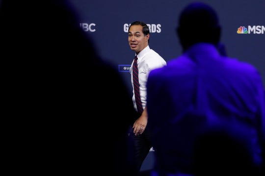Former Housing and Urban Development Secretary and Democratic presidential candidate Julian Castro speaks during a gun safety forum Wednesday, Oct. 2, 2019, in Las Vegas. (AP Photo/John Locher)