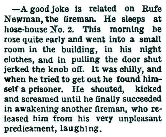 Nineteenth century local firemen played pranks on brethren, as shown by the Oct 4, 1887, Evening Item.