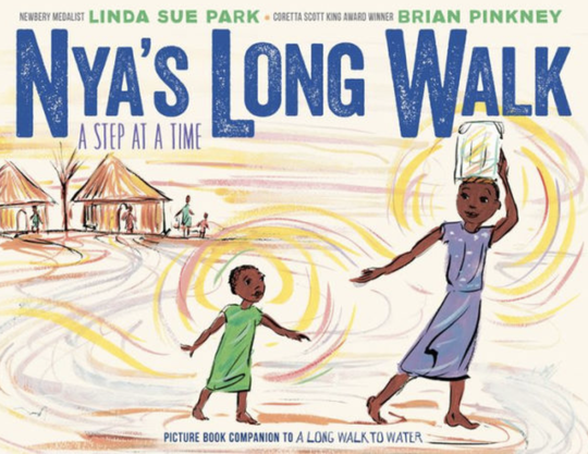 Cover art from Linda Sue Park's 'Nya's Long Walk', a sequel to her 'A Long Walk to Water.'