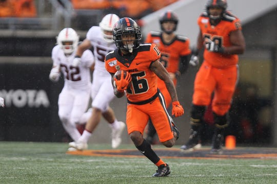 Sep 28, 2019; Corvallis, OR, USA;  Oregon State Beavers wide receiver Champ Flemings (16) runs upfield against the Stanford Cardinal in the second half at Reser Stadium. Mandatory Credit: Jaime Valdez-USA TODAY Sports