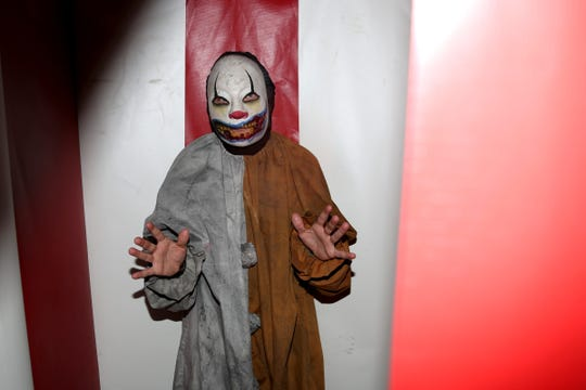 "Brian Christin in the ""Maze"" at the Nightmare Factory at the Oregon School for the Deaf in Salem on Oct. 1, 2019. The Nightmare Factory runs 7 to 11 p.m. Oct. 4-5, 11-12, 18-19, 25-26 and 7 to 10 p.m. Oct. 29-31; ""blackout"" Nov. 1-2. Students design and build the sets for the haunted house."