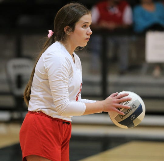 Miles High School's Libby Crouch gets ready to serve against Water Valley during a District 7-2A volleyball match at Water Valley on Tuesday, Oct. 1, 2019.