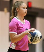 Water Valley High School's Kirstyn Greebon gets ready to serve to Miles during a District 7-2A volleyball match at Water Valley on Tuesday, Oct. 1, 2019.