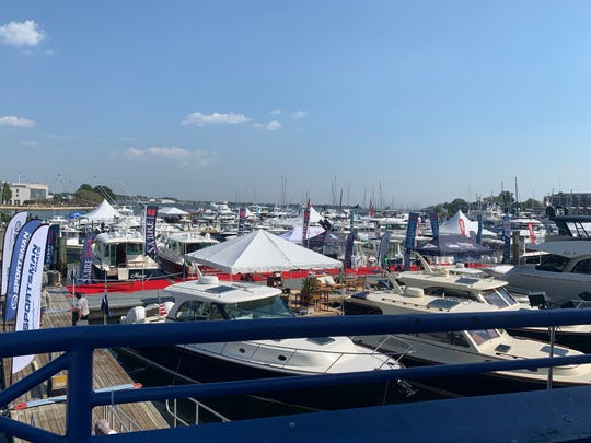 A view of the Annapolis Boat Show setting up on a record-breaking heat day   in Annapolis. The Annapolis Boat Show runs Oct. 3-6.