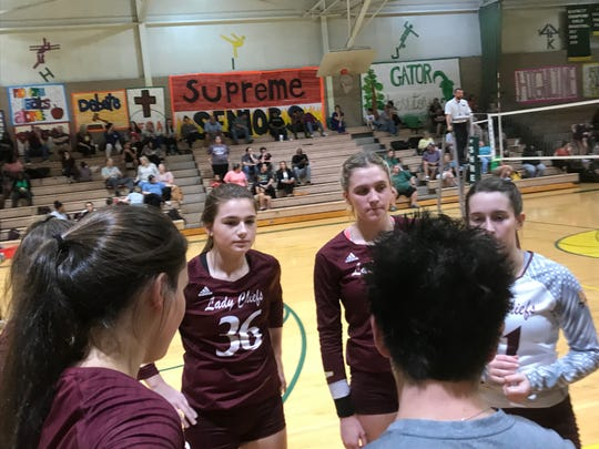 Natchitoches Central coach Nikki Murphy talks to her team during a timeout in Tuesday's game with Captain Shreve.