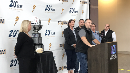 Jason Headlee (center) is the new president of the Sioux Falls Storm. He's joined in the new ownership group by (L-R) Valerie Headlee, Amber Garry, Patrick Garry, Stephanie Richter and David Richter
