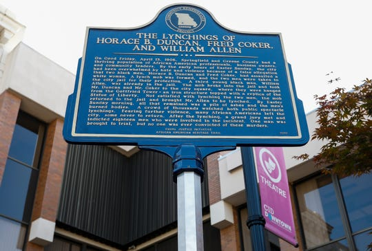 A dedication ceremony was held on Park Central Square on Wednesday, Oct. 2, 2019, for a historical marker that honors three African American men, Horace Duncan, Fred Coker, and William Allen, who were lynched in downtown Springfield in 1906.