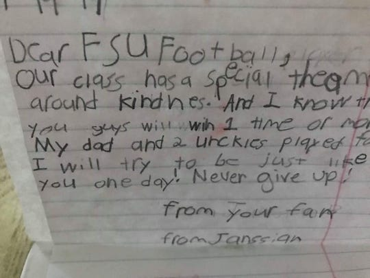 One of the letters written by third graders at Buck Lake Elementary to the FSU football team.