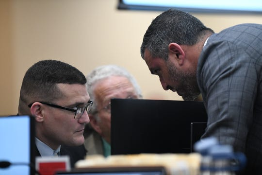 Attorney Saam Zangeneh consults with his client Sigfredo Garcia as Zangeneh cross examines Garcia's lifelong friend Luis Rivera, a key witness is Garcia's trial for the 2014 murder of Florida State University law professor Dan Markel at the Leon County Courthouse Wednesday, Oct. 2, 2019.