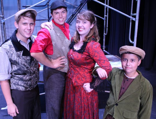 """Davey (Logan Tomberlin), Jack Kelly (Conner Fabrega), Katherine Plumber (Brittany Porthouse) and Les (Carson Broome) in the Quincy Music Theatre production of """"Newsies."""""""