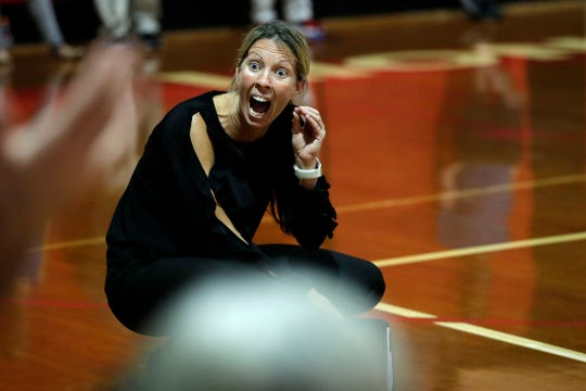 Leon Lions head coach Angie Strickland expresses her frustrations on a bad call by the refs. The Lions swept the Timberwolves in three straight sets Tuesday, Oct. 1, 2019.