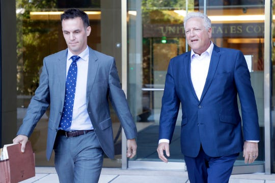 Gary Yordon, a political consultant and one time close friend of former City Commissioner Scott Maddox, and his attorney Greg Noonan leave the federal courthouse in Tallahassee on Wednesday, Oct. 2, 2019. Yordon testified before a federal grand jury sifting through evidence in a long-running public corruption probe.