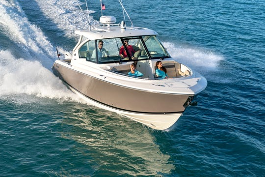 The Pursuit Boats DC 326, one of its newest models, is one of 15 built at the company's manufacturing facility in Fort Pierce.