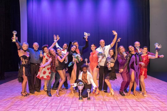 Dancing with the Martin Stars 2019 cast of star dancers and instructors, from left, Laura Crawford and Bob Murray, Amy Snow and Brian Spector, Megan Acosta and David Bradford, Marianella Tobar and Eddie Arguelles, Overall Winners Travis Scott and Maggie Slobasky, Fabi Gonzalez and Faith Mary Angela, Dean Lopes and Bimika Salois, Craig Calvin and Kim Brisky.