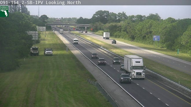 A crash on the Florida Turnpike temporarily blocked all lanes of travel in St Lucie County on Wednesday, Oct. 2, 2019.