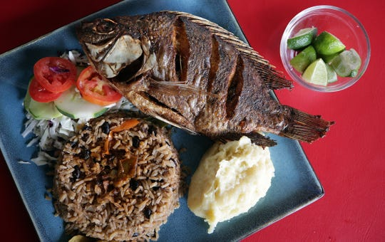 The pescado frito plate from the Caribbean Queen in downtown Juarez. The restaurant is run by Cuban asylum seekers awaiting their hearings in the US.
