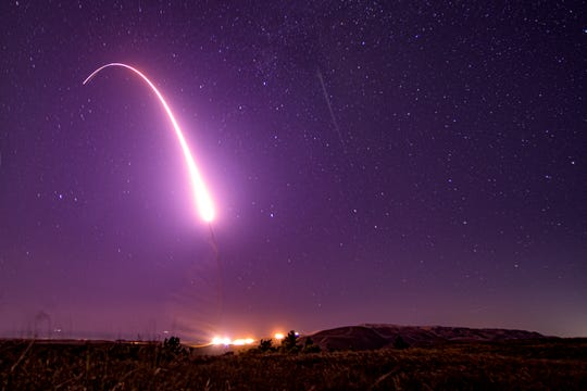An unarmed Minuteman III intercontinental ballistic missile launches during an operational test in October from Vandenberg Air Force Base.