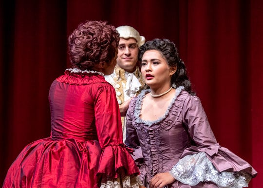 Hannah Vela, left, Michael Seitz and Isabella O'Keefe rehearse for College of the Sequoias' production of Dangerous Liaisons on Tuesday, October 1, 2019.
