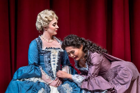 Brittaney Burris, left, and Isabella O'Keefe rehearse for College of the Sequoias' production of Dangerous Liaisons on Tuesday, October 1, 2019.