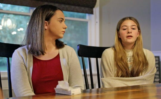 From left, Nicole Chiapperino listens as Anastasia Oberkircher talks about the sexual abuse from her coach, Joseph Lewin in Blauvelt Sept. 30, 2019. Both girls are sexual abuse survivors of Joseph Lewin.