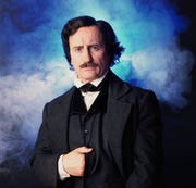 "Jeffrey Combs portrays Edgar Allan Poe on stage in ""Nevermore."""