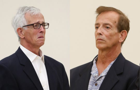 Joseph Lewin is photographed on two separate occasions in Rockland County Court during his criminal case for sexual abusing underage girls he coached in gymnastics. The left photo is from September 2019, and the right photo is from July 2018.