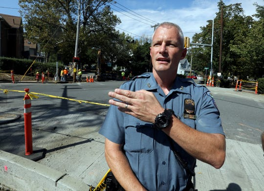 South Nyack Police Chief Daniel Wilson at Franklin and Clinton in South Nyack, where a new traffic light is being installed Oct. 2, 2019. Work is being done at the intersection as part of the reconfiguration of the Thruway Exit 10 and the building of the Mario Cuomo Bridge's shared use path.