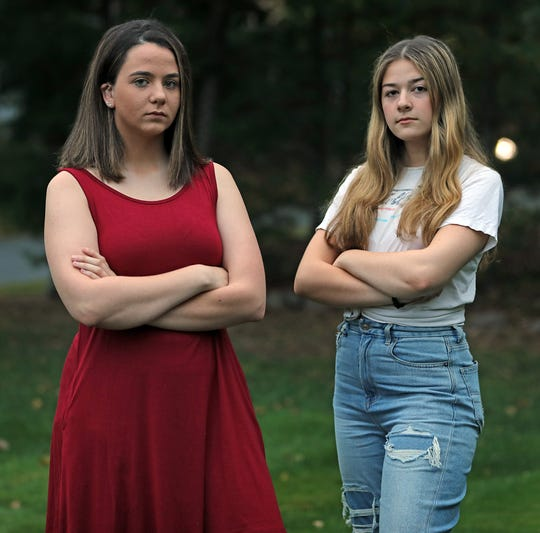 From left, Nicole Chiapperino and Anastasia Oberkircher are both photographed outside of Nicole's home in Blauvelt Sept. 30, 2019.  Both girls are sexual abuse survivors of Joseph Lewin.