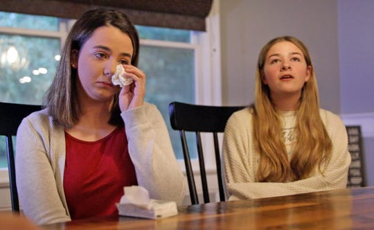 From left, Nicole Chiapperino gets emotional as Anastasia Oberkircher talks about the sexual abuse from her coach, Joseph Lewin in Blauvelt Sept. 30, 2019. Both girls are sexual abuse survivors of Joseph Lewin.
