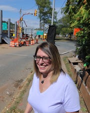 South Nyack Mayor Bonnie Christian at the entrance to the southbound Thruway from South Broadway in South Nyack Oct. 2, 2019. The entrance will be closed once the Exit 10 reconfiguration is completed.