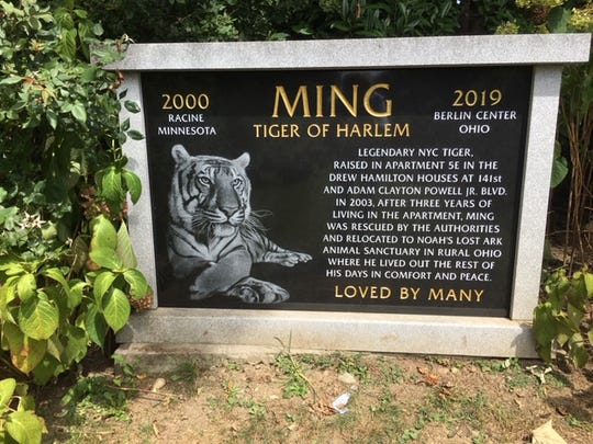 A monument honors Ming, a tiger buried at Hartsdale Pet Cemetery.