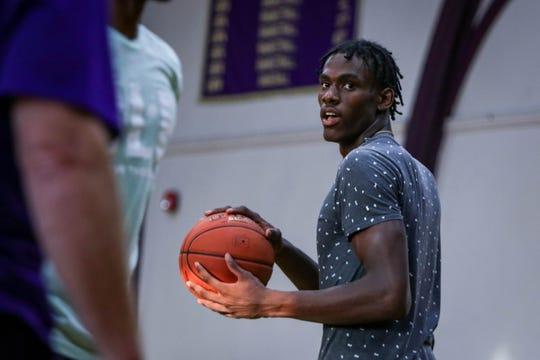 New Castle's Jalen Duren practices with his team at Roman Catholic High School in Philadelphia on Thursday, Sept. 26, 2019. The sophomore is ranked amongst the top in his class nationwide.
