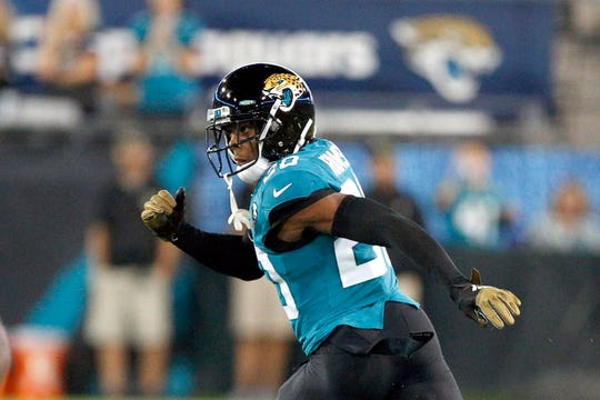 Jacksonville Jaguars cornerback Jalen Ramsey covers a Tennessee Titans player during the first half of a game in Jacksonville, Fla. on Thursday, Sept. 19, 2019.