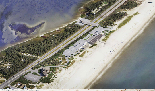 This draft rendering shows where the interconnection facility would be, in the top of the photo to the left of the highway along the bay side of Fenwick Island State Park. On the ocean side are some renderings of improvements such as a new visitor center and a pedestrian overpass.