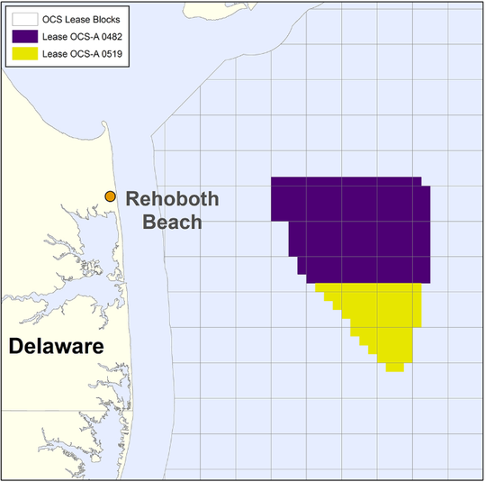This map shows where an offshore wind lease area is along Delaware's coast. The yellow portion is where the Skipjack Wind Farm will be placed.